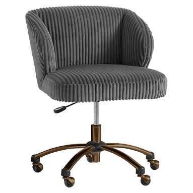 Charcoal Chamois Wingback Desk Chair - Pottery Barn Teen