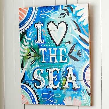 """Katie Daisy """"I Love The Sea"""" Watercolor Surf Art - Pottery Barn Teen"""