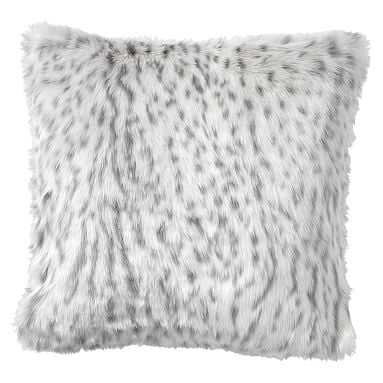 "Faux-Fur Pillow Cover, 18 x 18"", Gray Leopard - Pottery Barn Teen"