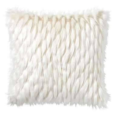 "Faux-Fur Pillow Cover, 18 x 18"", Winter Fox - Pottery Barn Teen"