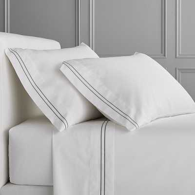 White Hotel Bedding, Sheet Set, Two-Line, King, Gray - Williams Sonoma