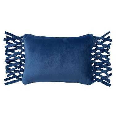 Bohemian Fringe Plush Pillow, 12x16, Navy - Pottery Barn Teen