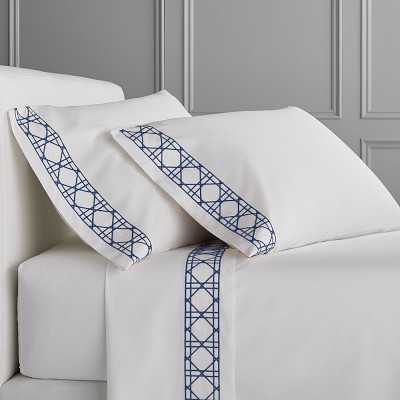 Cane Embroidery Bedding, Sheet Set, King, Navy - Williams Sonoma