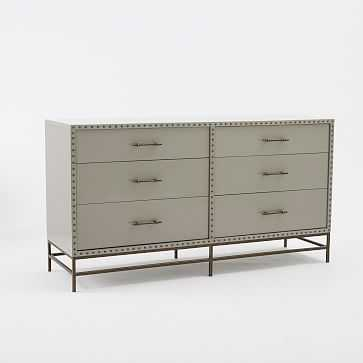 Nailhead 6 Drawer Dresser, Gray Lacquer - West Elm