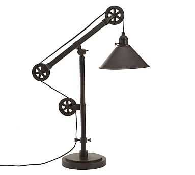 Warren Pulley Metal Task Table Lamp, Rustic Iron Finish - Pottery Barn