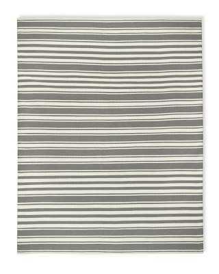 Riviera Stripe Indoor/Outdoor Rug, 6x9', Steeple Gray/Egret - Williams Sonoma