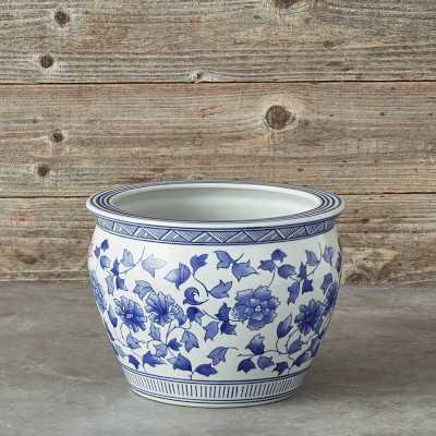 Blue & White Ceramic Planter, Large - Williams Sonoma