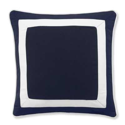 "Sunbrella Outdoor Solid Pillow Cover with White Border, 20"" X 20"", Navy - Williams Sonoma"
