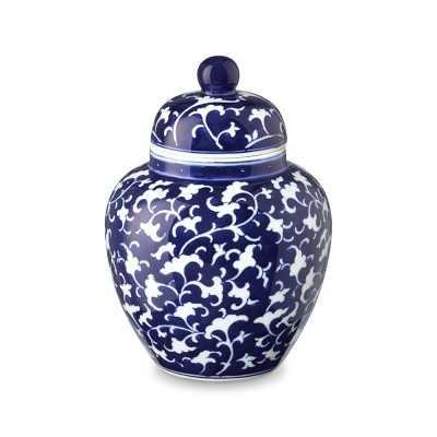 Vine Motif Temple Jar, Blue & White - Williams Sonoma
