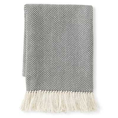 "Mini Chevron Cotton Throw, 50"" X 60"", Gray - Williams Sonoma"