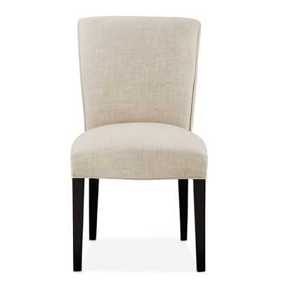 Fitzgerald Dining Chair, Side, Ebony, Chunky Linen, Natural - Williams Sonoma