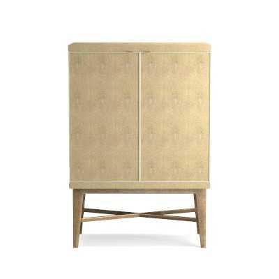 Seymour Bar Cabinet, Faux Shagreen, Mushroom - Williams Sonoma