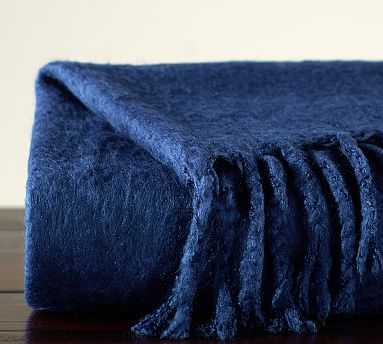"""Solid Faux Mohair Oversized Throw, 55 x 80"""", Twilight - Pottery Barn"""