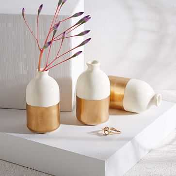 Honeycomb Studio Bud Vase, White + Gold, Set of 3 - West Elm