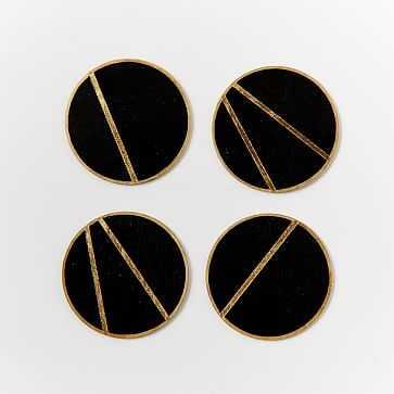 The Vintage Vogue Linea Coasters, Black + Gold - West Elm