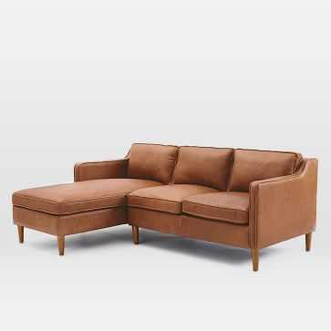 Hamilton Set 1: Right Arm Loveseat + Left Arm Chaise, Leather, Sienna - West Elm