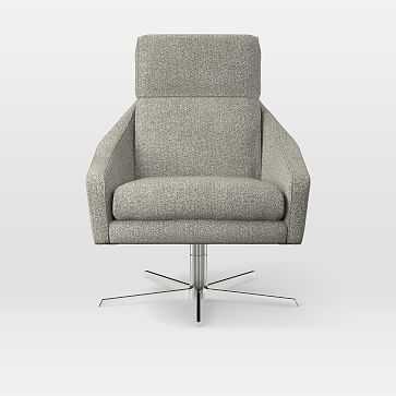 Austin Swivel Chair, Twill, Gravel - West Elm