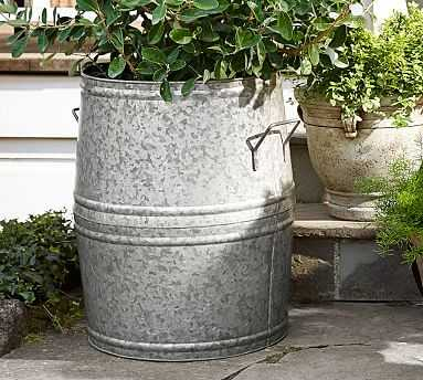 Eclectic Galvanized Metal Planter, X-Large Barrel - Pottery Barn