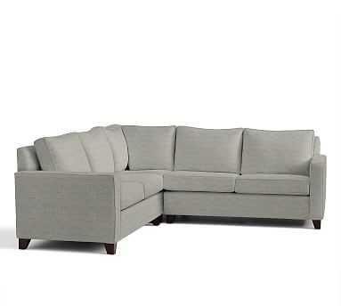 Cameron Square Arm Upholstered 3-Piece L-Shaped Corner Sectional, Polyester Wrapped Cushions, Premium Performance Basketweave Light Gray - Pottery Barn