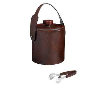 Saddle Leather Lidded Ice Bucket & Tongs, Chocolate - Pottery Barn