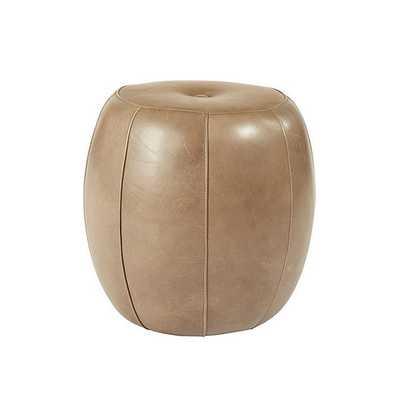 Ballard Designs Leather Pouf - chocolate - Ballard Designs