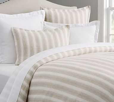 Jamie Stripe Linen/Cotton Duvet Cover, Full/Queen, Flax - Pottery Barn