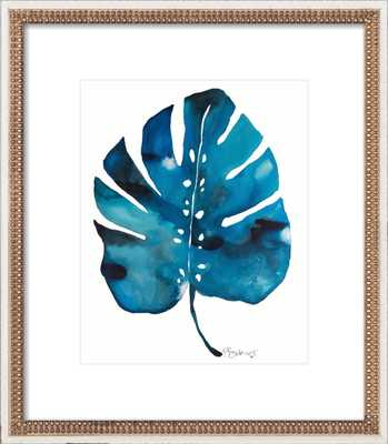 """Split Leaf Philodendron - 20x23"""" - Distressed Cream Double Bead Wood Frame with Matte - Artfully Walls"""