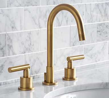 Exton Lever-Handle Widespread Bathroom Faucet, Antique Brass Finish - Pottery Barn