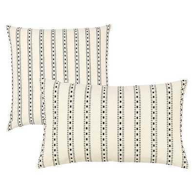 "Noir Textured Woven Pillow - Ribbon Stripe Black,  20"" x 20"" - Ballard Designs"