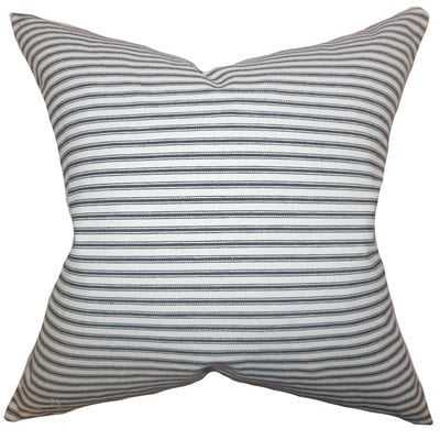 "Ferebee Striped Cotton Throw Pillow -20""H x 20"" W - Gray with Down Insert - Linen & Seam"