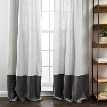 """Linen Velvet Colorblock Curtain, Platinum/Iron, 48""""X108"""" - West Elm"""