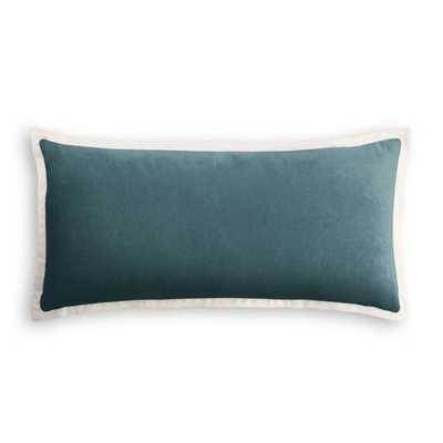 Lumbar Pillow  Classic Velvet - Peacock with Flange Trim - Loom Decor