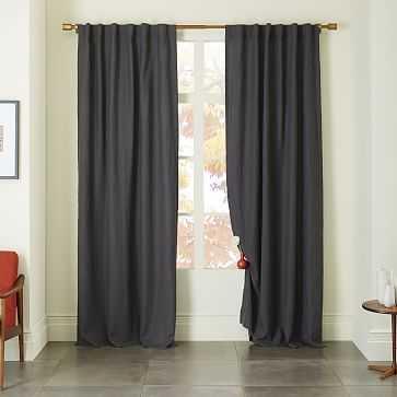 """Belgian Linen Curtain, Slate, 48""""x96"""" w/ Blackout Lining - West Elm"""