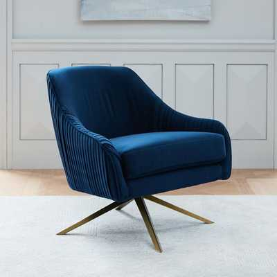 Roar + Rabbit™ Swivel Chair - Ink Blue, Performance Velvet - West Elm