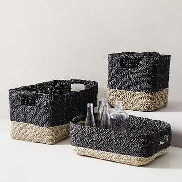 Two-Tone Woven Storage Basket, Black/Tan Underbed - West Elm