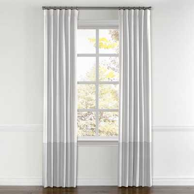 "White & Blue Gray Linen Color Block Curtain - 96""H - 132""W - Privacy Lining - Loom Decor"