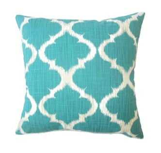 Iara Ikat Pillow Teal Pillow - Linen & Seam