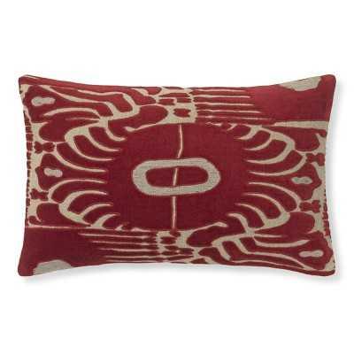 "Velvet Ikat Applique Pillow Cover, 14"" X 22"", Red/Natural - Williams Sonoma"
