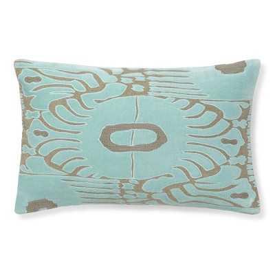 """Velvet Ikat Applique Pillow, 14"""" X 22"""", Aqua/Natural - Williams Sonoma"""