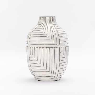Linework Maze Pattern Vase, Tall Shoulder, White - West Elm