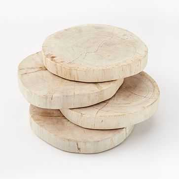 Petrified Wood Coasters, Set of 4, White - West Elm
