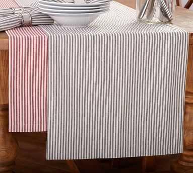Wheaton Stripe Table Runner, Charcoal - Pottery Barn