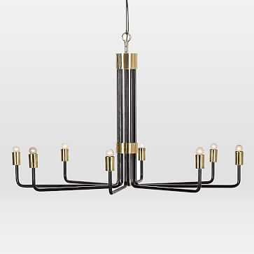 Uptown Chandelier, 8 Light, Black + Polished Brass - West Elm