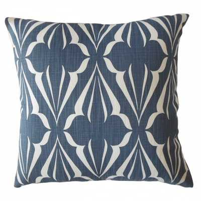 Jacquez Geometric Pillow Sapphire with down insert - Linen & Seam