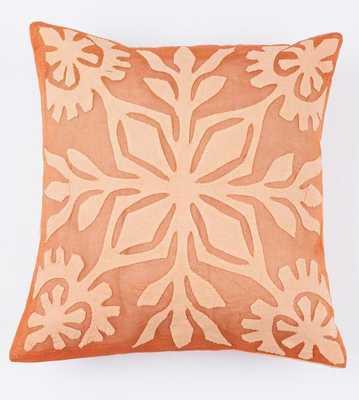 Rust Orange 16x16 Applique Pillow Cover - Bohem