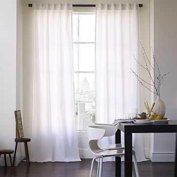 "Cotton Canvas Pole Pocket Curtain, 48""x96"", White, Blackout Lining, Set of 2 - West Elm"