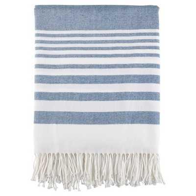 "Stripe Pattern Fringe Throw Blankets (50""x60"") - Saro Lifestyle® - Target"