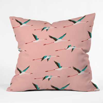 FLAMINGO PINK Throw Pillow-18x18 with insert - Wander Print Co.