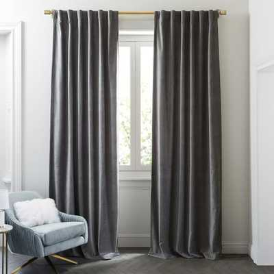 "Worn Velvet Curtain - Unlined, Metal, 48""X96"" - West Elm"