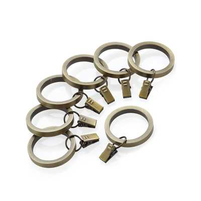 Antique Brass Curtain Rings, Set of 7 - Crate and Barrel